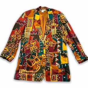Vtg 90's Limited Silk Floral Tribal Blazer Jacket